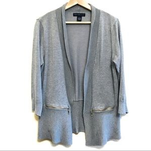 Joan Vass gray open cardigan with front pockets